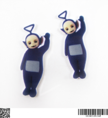 5 x 45MM TINKY WINKY FROM TELETUBBIES LASER CUT FLAT BACK HEADBANDS BOWS PLAQUES CARD MAKING